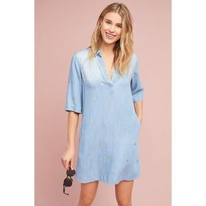 Cloth & Stone Gold-Dotted Chambray Dress
